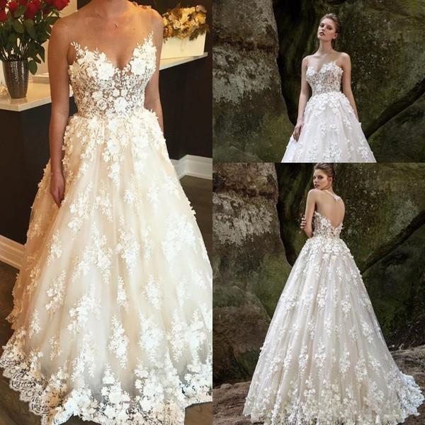 Gorgeous Lace Beach Wedding Dresses Beaded Sheer Jewel Neck A Line 3D Appliqued Bohemian Bridal Gowns Floor Length Vestido De Novia