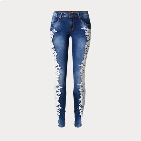 Spliced Hole Jeans Women Lace Fashion Trousers Lace Splice Both Sides Gloria Jeans Low Waist Casual blue Female sex pants