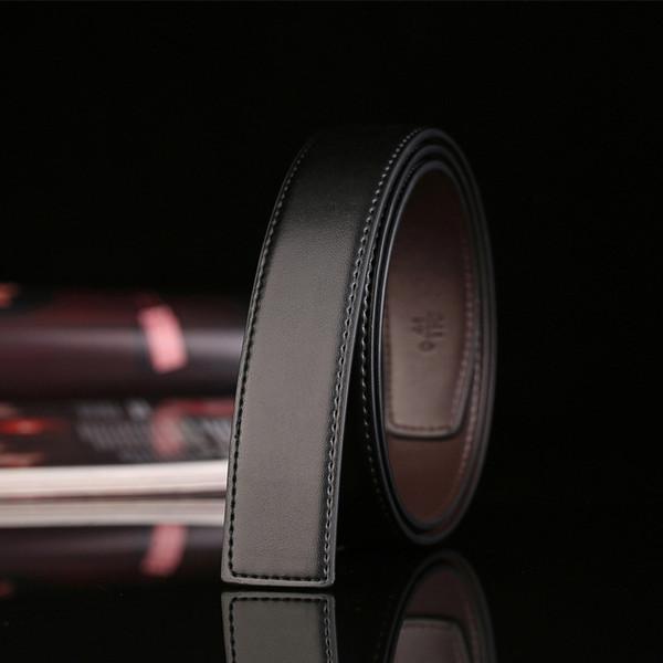 Cinturón de cuero sin hebilla de 3,3 cm de ancho. Cinturón de hombre sin cinturón de hebilla suave. Cuero de hombre de diseño.