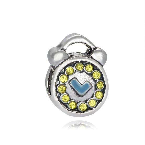 Crystal Clocks Watches Bells Chime Silver European Beads Accessories Fit Pandora Charms for Bracelets Wholesale for Girls Women Mom Friend