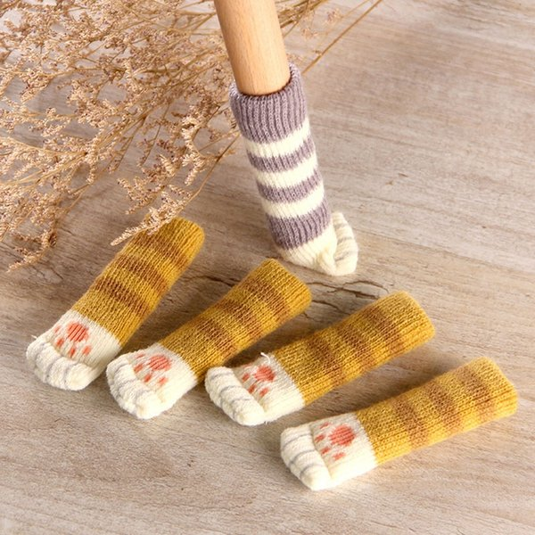 4Pcs /Set Cute Cat Paw Table Chair Foot Leg Knit Cover Protector Socks Sleeve Protector Good Scalability Non-Slip Wear free shipping