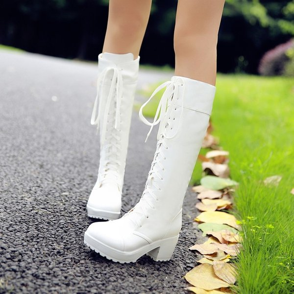 Women Platform Boots Sexy Patent Leather Knee High Boots Fashion Thin High Heel Zipper Lace Up Woman Shoes 2018 New9