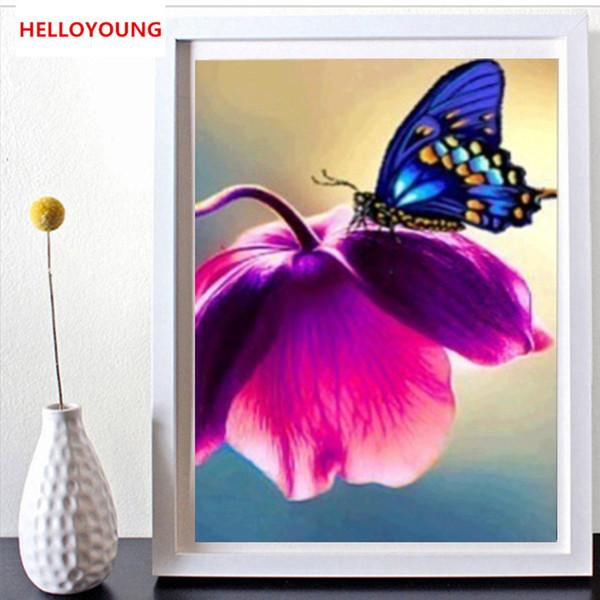 DIY 5D Полный Алмазные вышивки Бабочка цветок Круглый Алмазная Картина Вышивка крестом наборы Алмазный Mosaic Home Decor