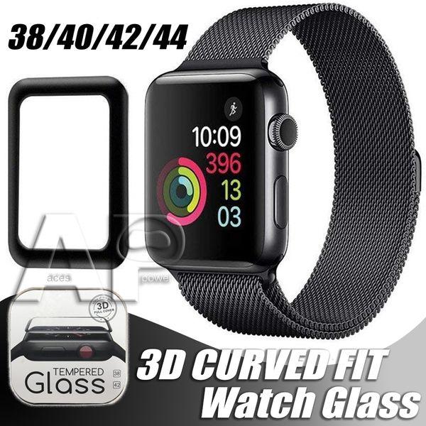 Per Apple Watch 3D Pellicola proteggi schermo in vetro temperato pieno 40mm 42mm 38mm 44mm Anti-graffio senza bolle per iWatch Series 1 2 3 4