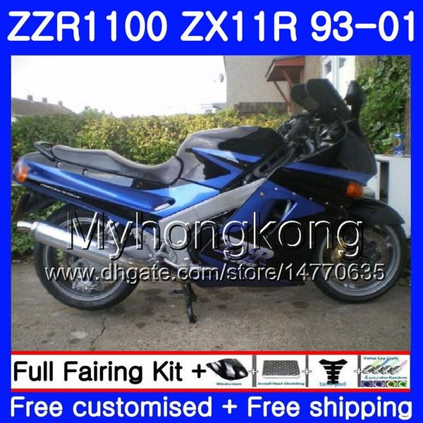 Body For KAWASAKI NINJA ZX 11R ZX11R 93 98 99 00 01 206HM.30 ZZR 1100 ZX11 R ZZR1100 Stock blue blk ZX-11R 1993 1998 1999 2000 2001 Fairings