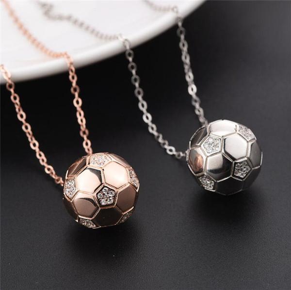 S925 Sterling Silver Diamond Ball Necklace Female 2018 New Russia World Cup souvenir pendant fan Ornament