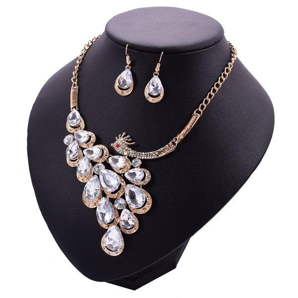 2 Colors Peacock Crystal Pendants Jewelry Set Choker Earrings Studs Wedding Jewelry Sets Mothers Day Gifts Wedding Decorations
