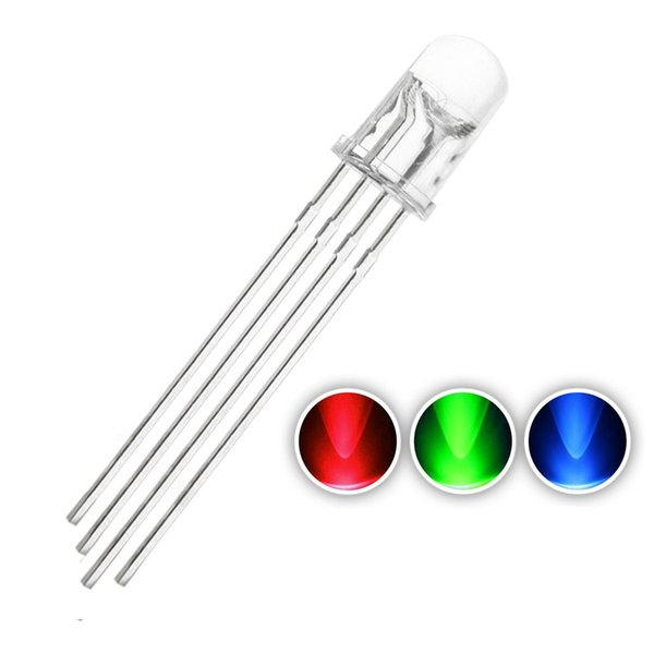 100 pcs 5mm RGB LED Diode Lights Tricolor (Multicolor Red Green Blue 4 pin Common Anode Clear DC 20mA/Color) Super Bright Lighting Bulb Lamp