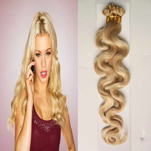 Remy Nail U Tip Hair Extensions 100g 613 Blonde Fusion Hair