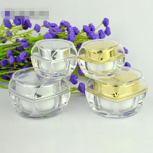 5 10 ml de oro recargable acrílico cristal crema tarros vacío cosmético maquillaje crema para la cara bálsamo labial sombra de ojos tóner contenedor de almacenamiento botella botella