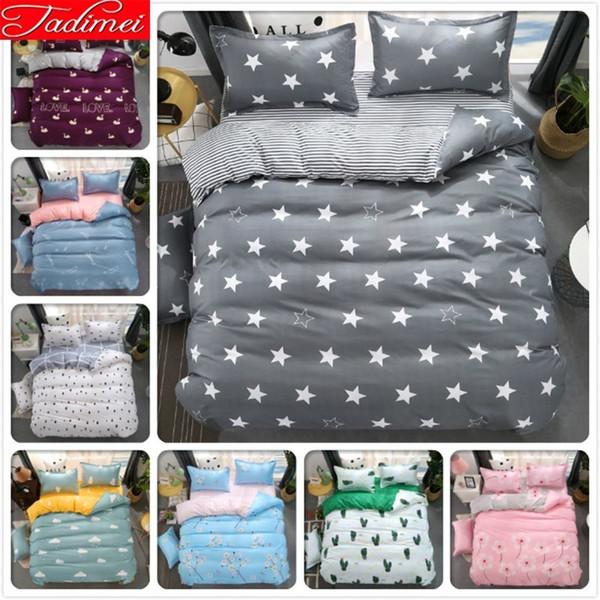 Grey Stars Pattern Stripe Duvet Cover 3/4 pcs Bedding Set Adult Kids Child Bed linens Single Full Double Queen King Size 200x230
