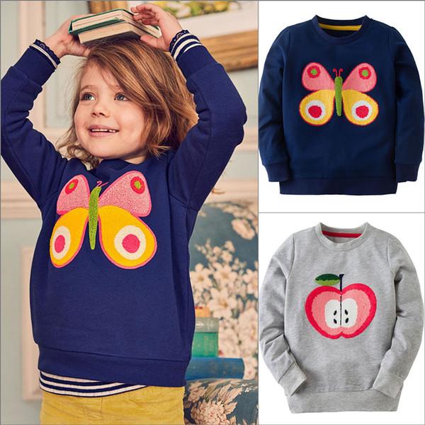 Baby Girls Long Sleeve Thick Shirts 100% Cotton Apple Butterfly Sweatshirt Autumn Warm Cartoon Casual Kids