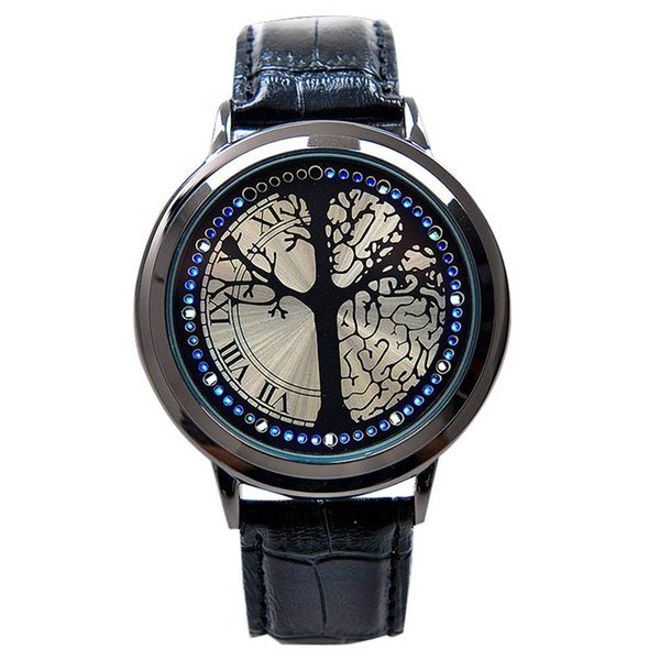 Fashion Leather Band Touchscreen LED Watches For Women/Men with Tree Shaped Dial Blue Light Display Time LXH