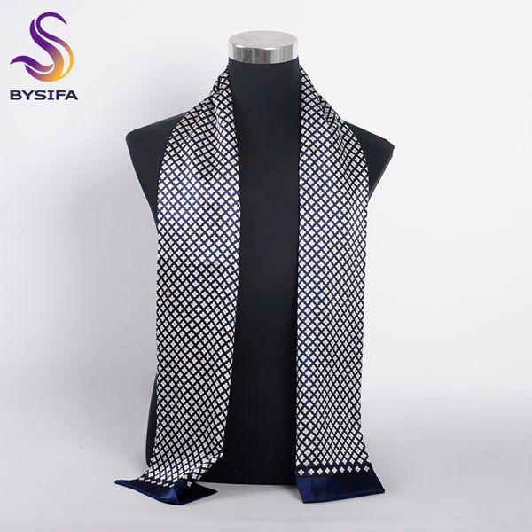 [BYSIFA] Brand Men Silk Scarf Muffler Winter Fashion Accessory 100% Pure Silk Male Plaid Long Scarves Cravat Navy Blue 160*26cm D18102406