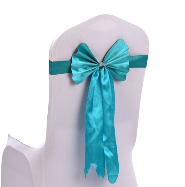 Satin Chair Covers Sashes Bands Free Chair Bowknot Ribbon for Wedding Events Props Party Decoration wen6682