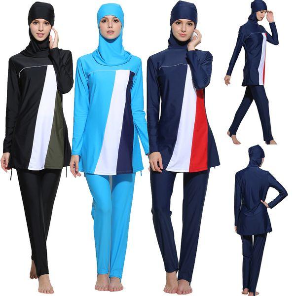 Bikinis 2018 mujer musulmana Mujeres Modesto traje de baño islámico de manga corta Top + Pantalones Traje de baño traje de baño de las mujeres tankini bikini empuja hacia arriba # 30