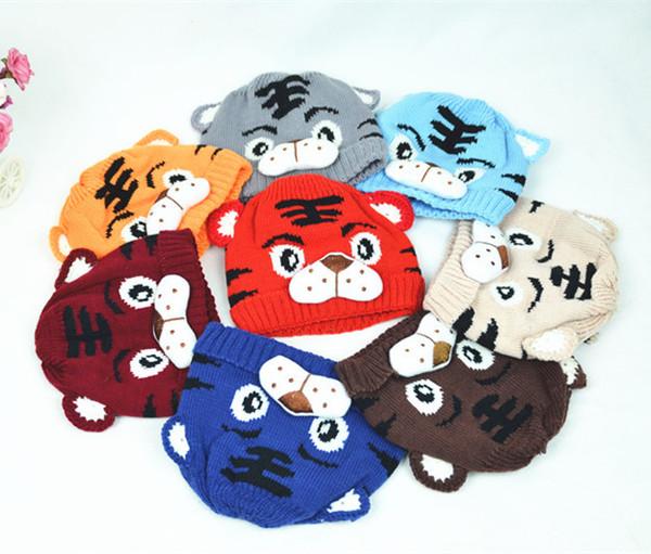 Cappello di lana carino per bambini inverno cappello per bambini ragazzi tigre cappello di maglia a forma di tigre cappello a maglia animalier doppio cappuccio