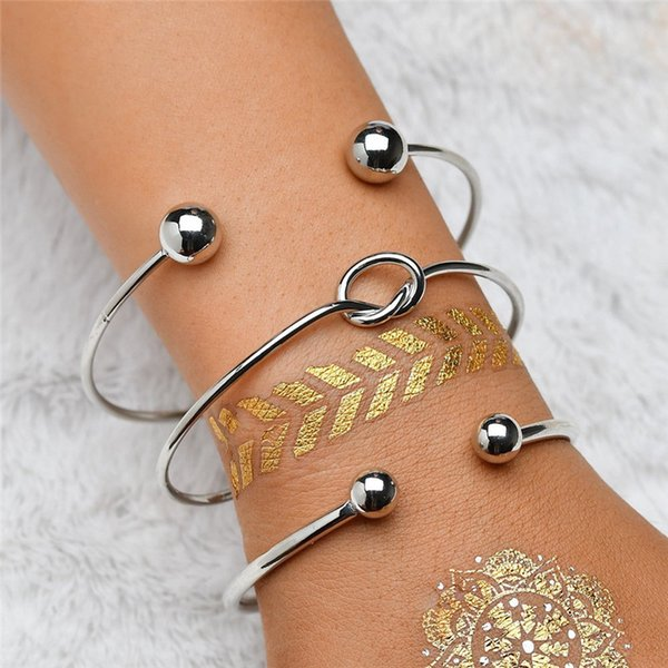 Simple Knotted Ball Geometrical Alloy 3 Piece Set Fashion Personality Occident Style Female Bangles OB018