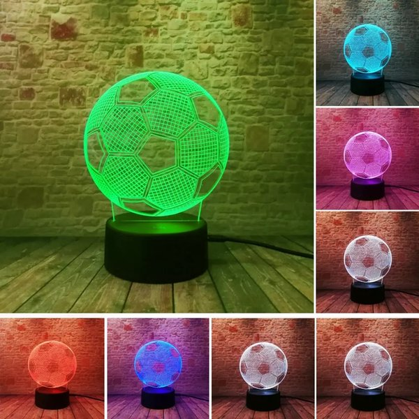 Circle Sport Soccer Football 3D Optical Illusion Lamp 7 Colors Change Touch Button and 15 Keys Remote Control LED Table Desk for world cup