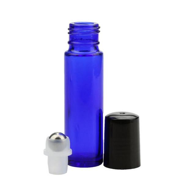 Botellas de rodillo de perfume mejor precio aceite esencial botellas vacías de color azul Botella de vidrio de muestra roll-on 10 ml con bola de rollo Matal y tapa negro