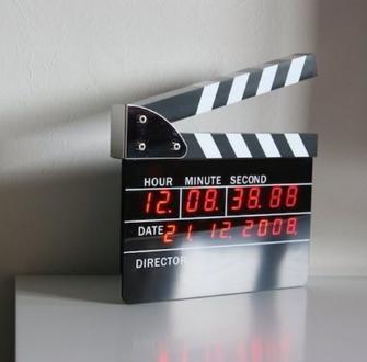 2018 Hot Sale Large Size Directors Edition Clapperboard Digital Alarm Clock Movie Action LED Desk Clock Clapper Board Movie Slate Table Cloc