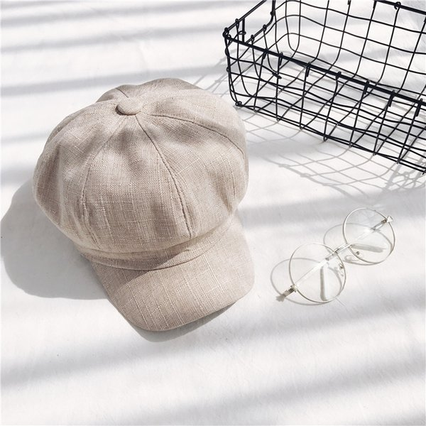 Cotton And Linen Hats Newsboy Warm Fashion Autumn And Winter Retro Beret Solid Color Painter Female Cap 12lh hh