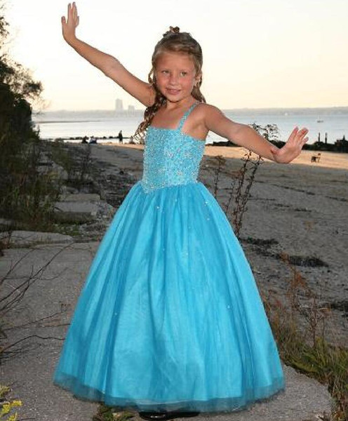 Beach Pretty Turquoise Tulle Beads Flower Girl Dresses Princess Dresses Girl's Pageant Dresses Custom Made Size 2-6 8 10 12 14 KF316125