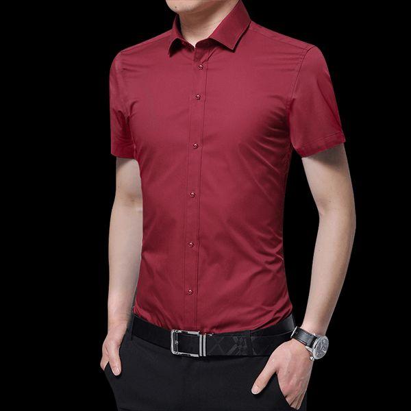 Camisa de manga corta de los hombres de la marca de moda Camisa de vestir de los hombres elegantes delgados del verano tamaño S M L XL 2XL 3XL 4XL 5XL