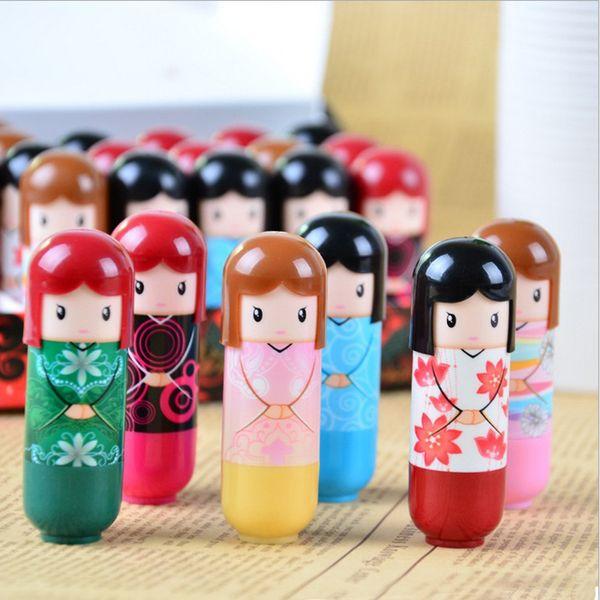best selling Cute Kimono Doll Natural Harmless Plant Moisturizing Healthy Lipstick Lip Pen Color Pattern Random Free Shipping 288