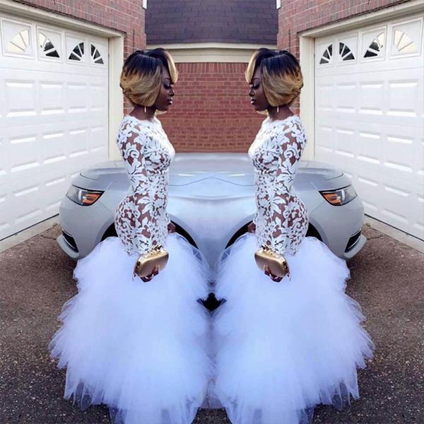 2019 sirena blanca africana de encaje vestidos de baile para niñas negras mangas largas con volantes de tul longitud del piso más el tamaño de la noche vestidos de baile Vestidos