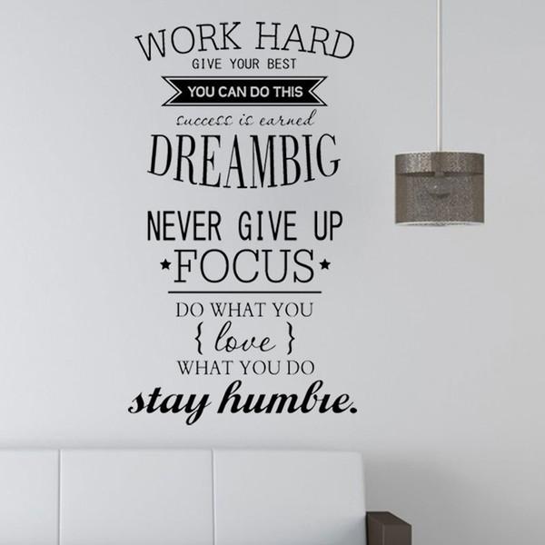 Motivation Stickers muraux Décor de bureau - N'abandonnez jamais le travail dur, le rêve Grande citation inspirante Stickers muraux Décoration de la maison