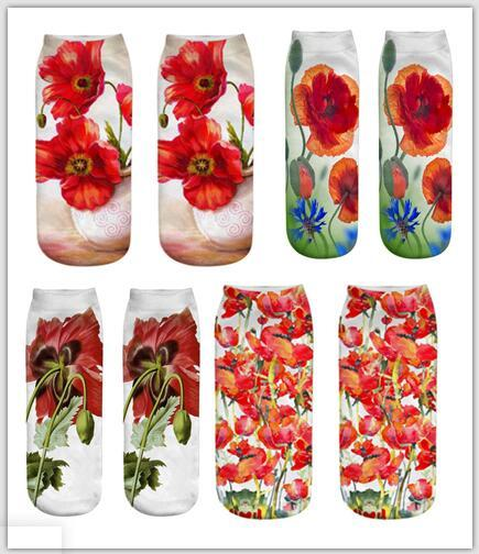 2019 New Arrival Women Socks Fashion Pretty 3D flower printed cotton Casual sock for woman Christmas gift 89