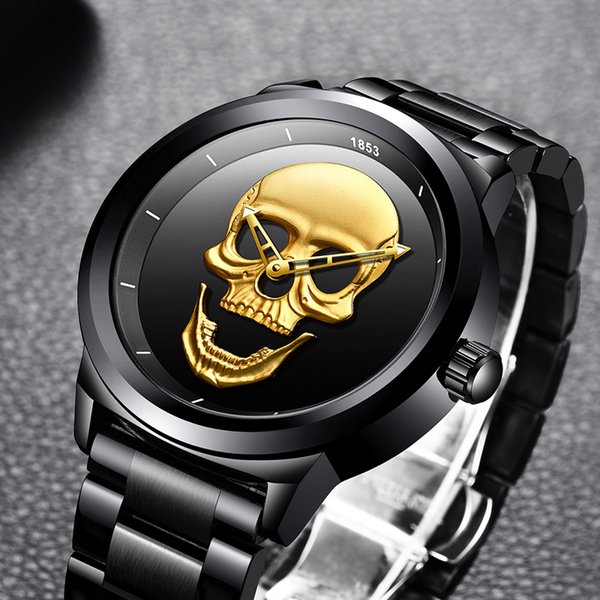 2018 LIGE Top Brand Cool Punk Style Pirate Skeleton Skull Quartz Mens Watches Full Tteel Sports Black Watch Relogio Masculino