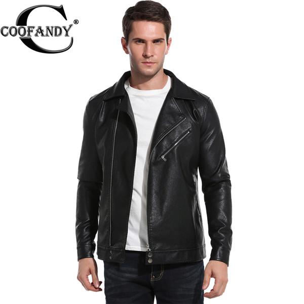 Wholesale- COOFANDY Men Leather Jack Fashion 2017 Winter Autumn Coat Lapel Long Sleeve PU Faux-Leather Moto Biker Jacket US size S/M/L/XL/X