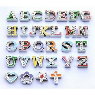 Fashion 130pcs-260pcs 8mm Mix Color Half Rhinestone Charmign Letters English Alphabet A - Z DIY Slide Letters Charms