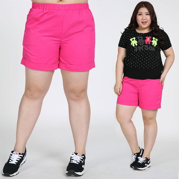 Wholesale-Large Yards Frauen-Sommer-beiläufige Kurzschlüsse plus große Größen-weibliche Kurzschluss-Gummiband-Süßigkeit-Normallack 6XL 7XL 130kgs kann tragen