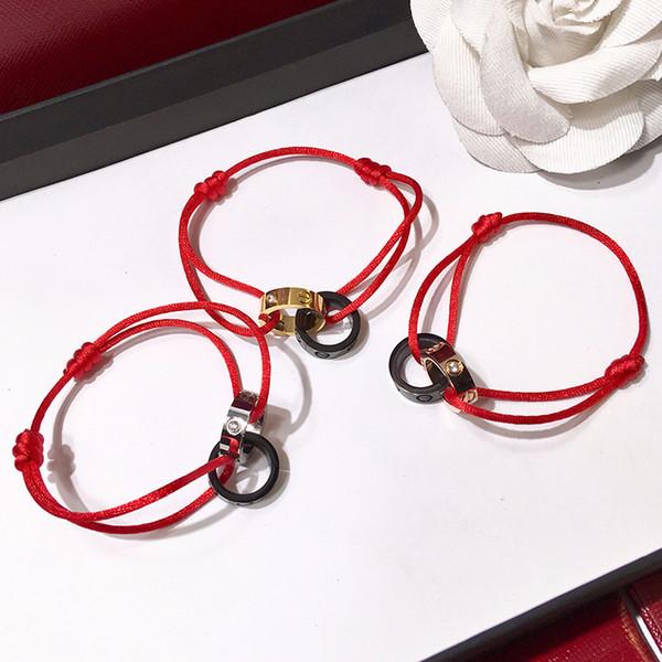 Bracelet à double anneaux ronds de marque Lucury Bracelet Forever Love bracelets de couple pour femmes et hommes