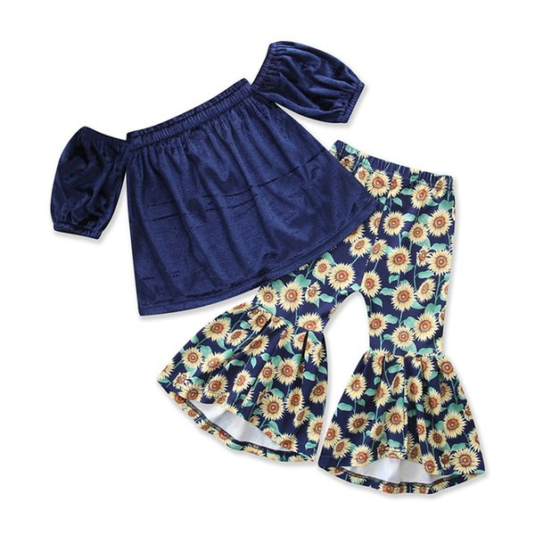 Baby Gold Velvet Outfits Girls Velvet Off Shoulder Top+chrysanthemum Print Flare Pants 2pcs/set 2018 New Boutique Kids Clothing Sets