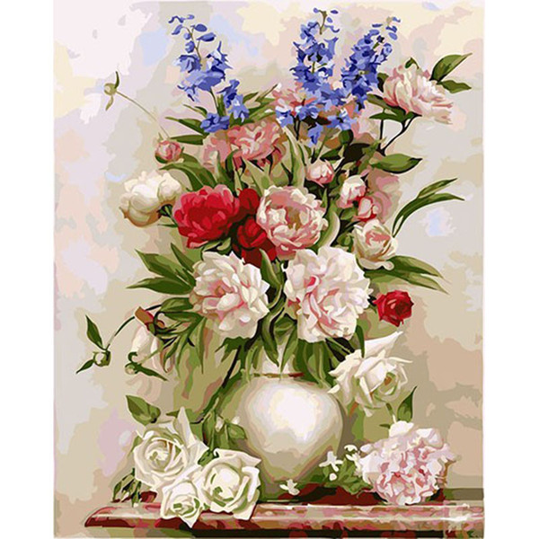 Unframed Europe Flower Diy Digital Painting By Numbers Wall Art Unique Gift Hand Painted Oil Painting For Home Wall Artwork