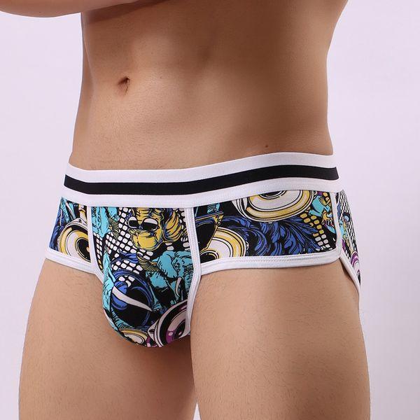 Briefs 3pcs /Lot Printed Sexy Underwear Men Briefs Cotton Hot Man Jock Strap Push Up Cuecas Shorts Gay Male Panty Underpant Low Rise