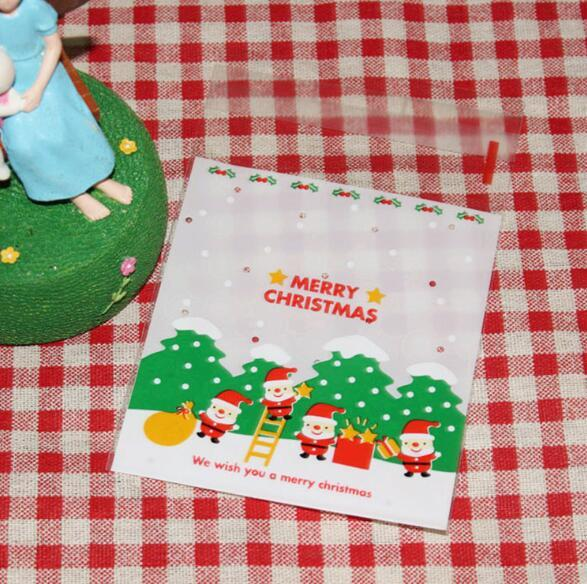 Christmas Gift Bag Cookie Packaging Self-adhesive Plastic Bags Merry Christmas For Biscuits Birthday Candy Cake Package