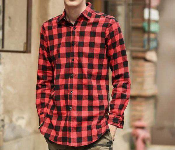 Manga larga de estilo corrector rojo, azul a cuadros en ambos lados de la cremallera. Camisa de estilo otoño para hombres y mujeres.