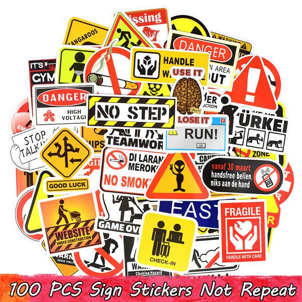 100 UNIDS Señal de advertencia Etiqueta engomada del Doodle Símbolo Recordatorio Marca Etiquetas Pegatinas Decoración para el hogar Libro de recuerdos Maleta Ordenador portátil Nevera Bicicleta Motocicleta regalos