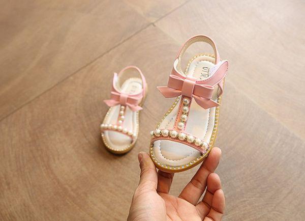 Girls Sandals Princess Korea New 2018 Summer Fashion Sandals Pearl Child Student Baby Beach Flat Shoes Kids