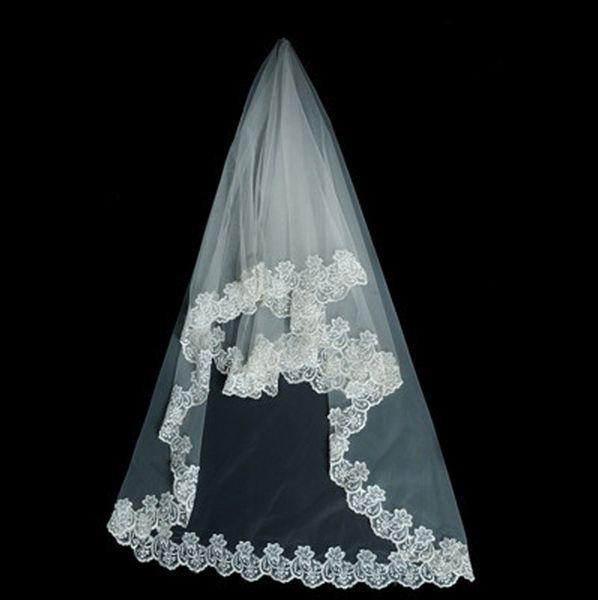 Venta al por mayor especial novia velo de novia tres metros de largo trapeado encaje encaje malla blanca Velos de novia blancos