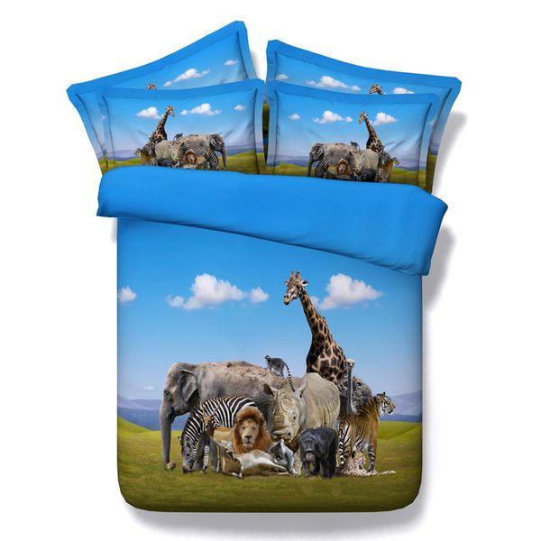 3D Elephant giraffe lion orangutan rhinoceros zebra bedding sets queen christmas duvet cover single twin king cal king size cool Dinosaur