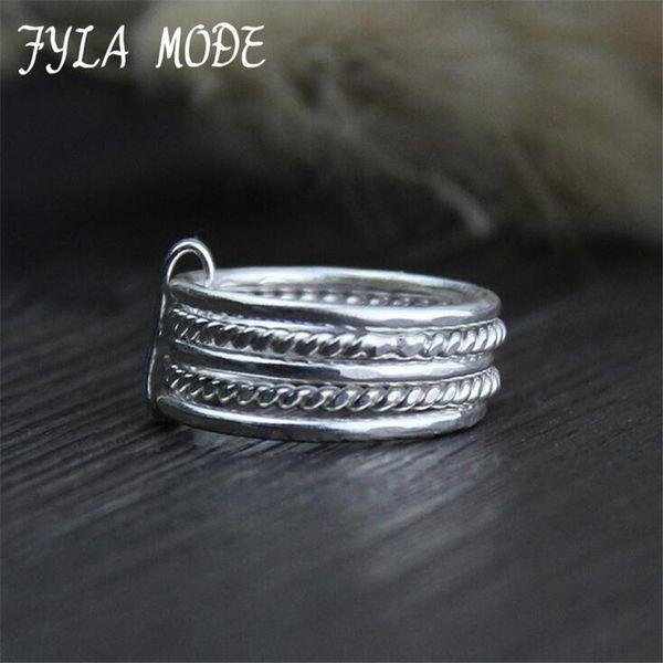 Fyla Mode Fashion 999 Thai Silver Index Anello per dito Fine Multistrato Anello Accessori Regalo per gioielli da donna 7.50mm 6G WT060