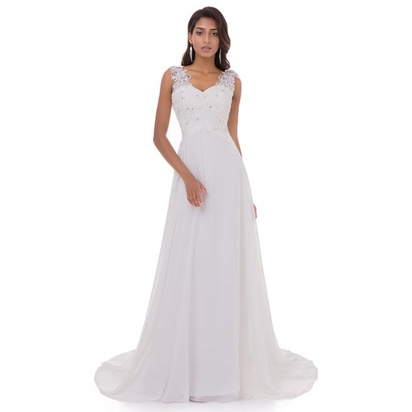 2019 Double Straps Empire Waist Cheap Wedding Dresses Bridal Gowns Chiffon Beach Lace Appliqued Wedding Gowns From China With Cowl Back