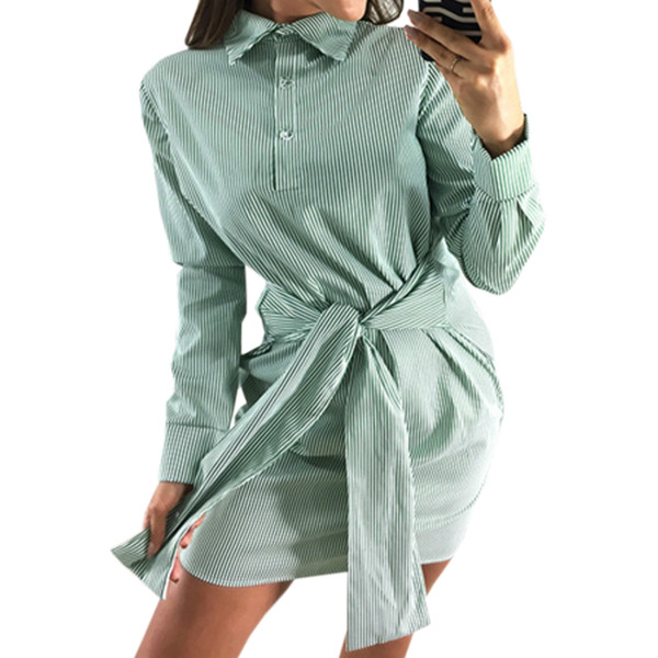 Elegant Work Shirts Dresses Women Autumn Turn-down Collar Shirt Dress Casual Office Lady Striped Buttons Sashes Mini Dress GV729