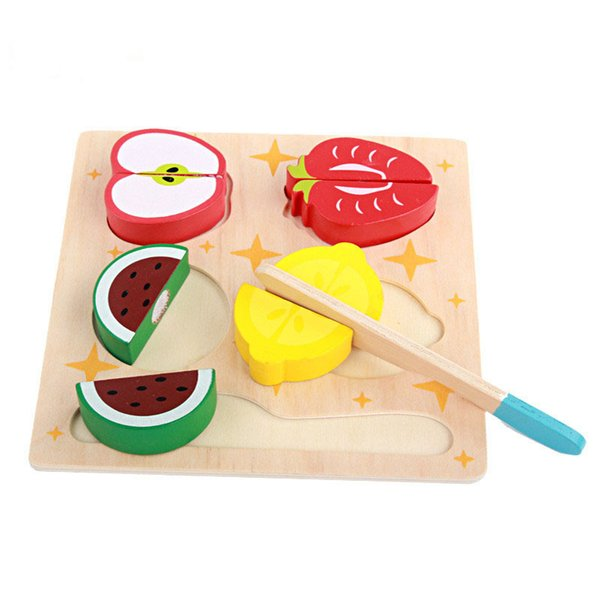 Baby Wooden Pretend Play Toys Classic 5pcs Food Fruit Cutting Blocks Kitchen Toys For Children Kids Girls Toys Set Best Gifts
